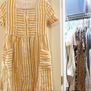 Yellow & White Stripe Dress W/ Pockets